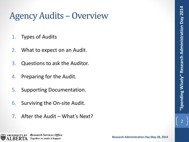 Agency audits overview