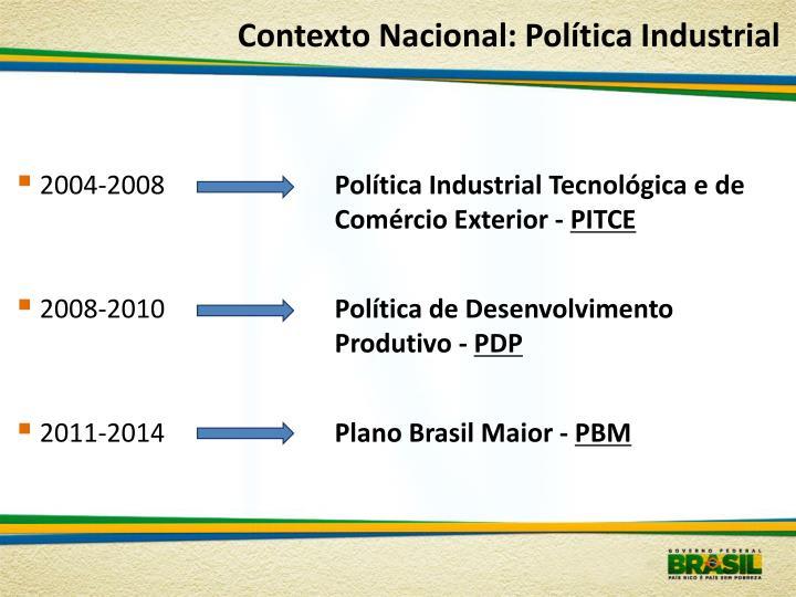 Contexto Nacional: Política Industrial