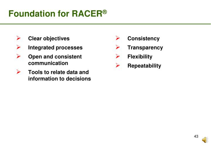 Foundation for RACER