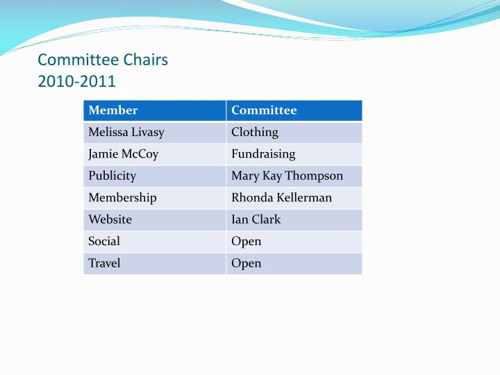 Committee Chairs 2010-2011