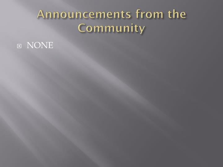 Announcements from the community