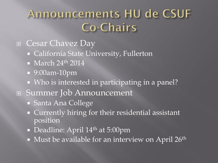 Announcements HU de CSUF