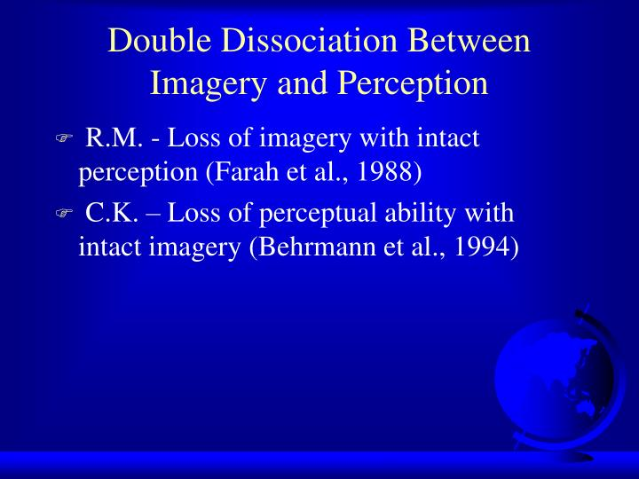 Double Dissociation Between Imagery and Perception