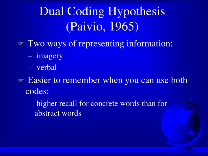 Dual coding hypothesis paivio 1965