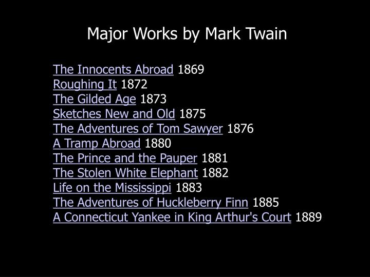 Major Works by Mark Twain