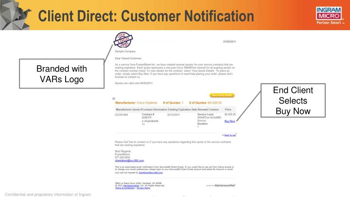 Client Direct: Customer Notification