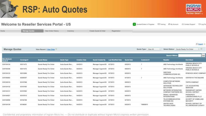 RSP: Auto Quotes