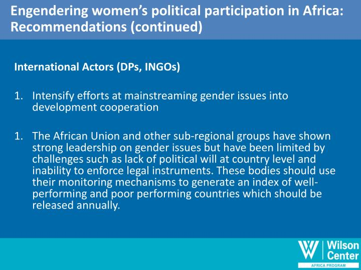 Engendering women's political participation in Africa: