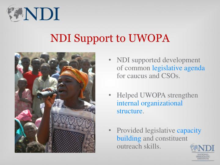 NDI Support to UWOPA