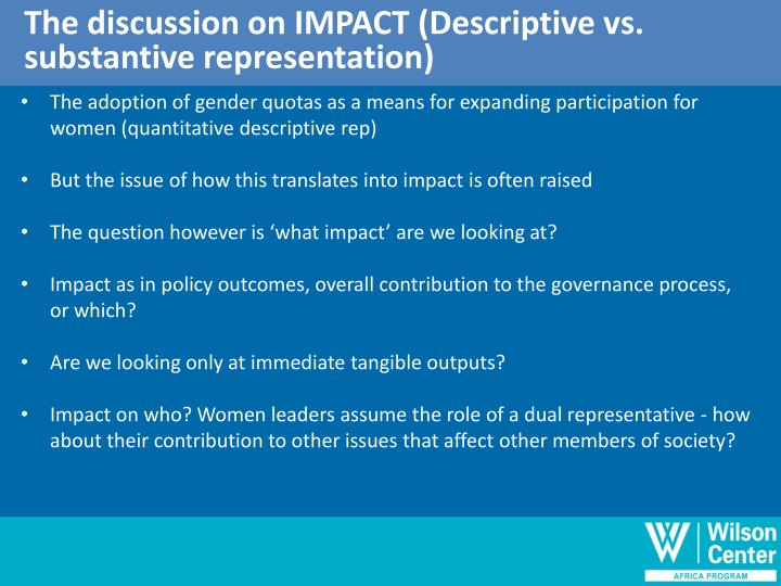 The discussion on IMPACT (Descriptive vs.
