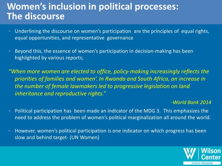 Women's inclusion in political processes: