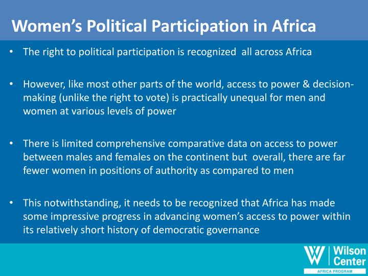 Women's Political Participation in Africa