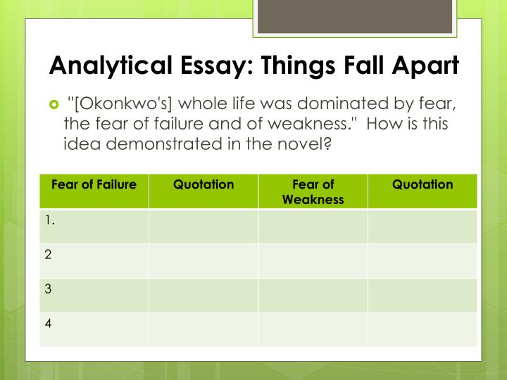 things fall apart analytical essay Analytical essay: things fall apart the power of religion can both guide a society and destroy it discuss the ways in which christianity, as promoted by the missionaries, does both analytical essay: things fall apart slideshow 2575961 by jena.