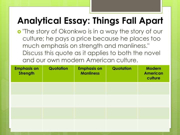 essay about things fall apart Suggested essay topics and study questions for chinua achebe's things fall apart perfect for students who have to write things fall apart essays.