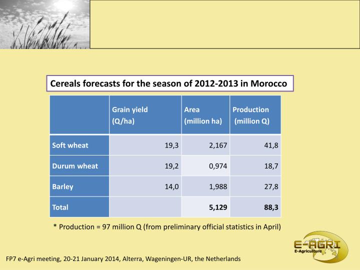 Cereals forecasts for the season of 2012-2013 in Morocco