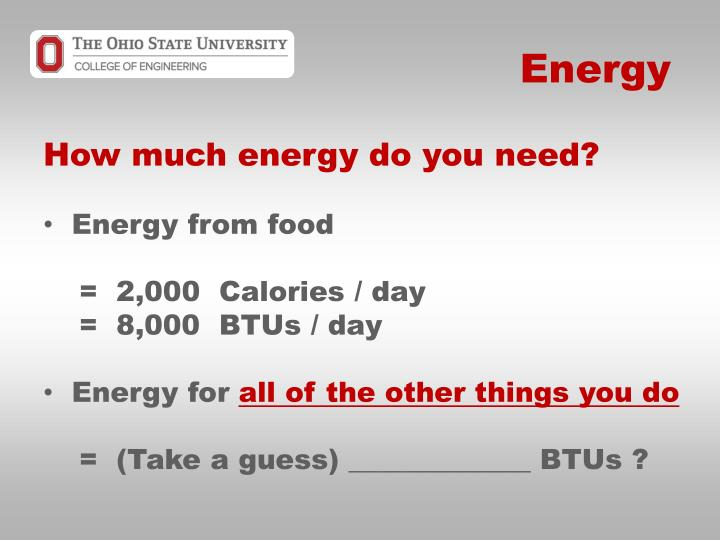How much energy do you