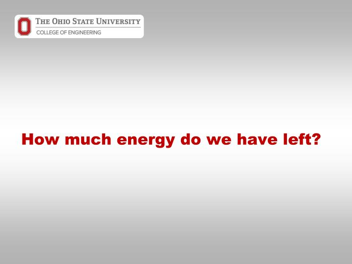 How much energy do we have left?