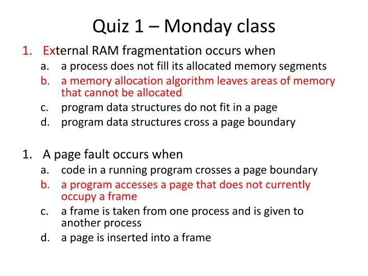 Quiz 1 – Monday class