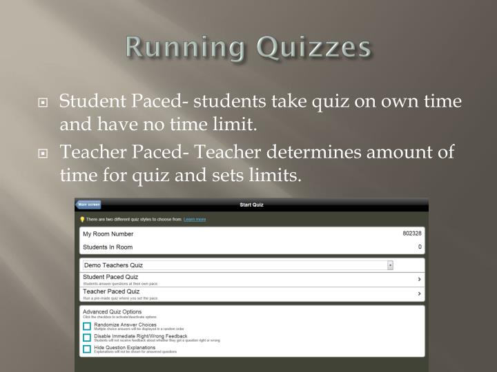 Running Quizzes