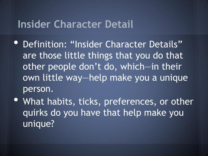 Insider Character Detail