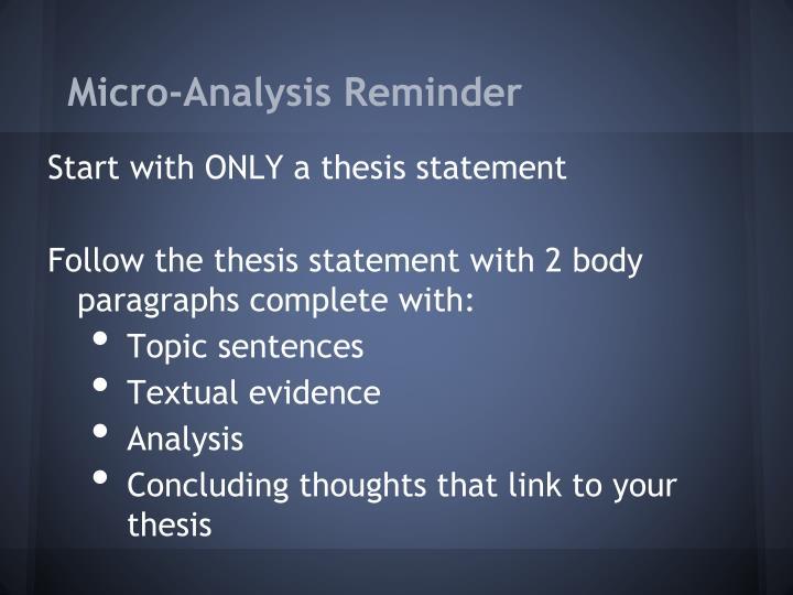 Micro-Analysis Reminder
