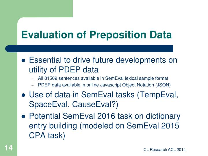 Evaluation of Preposition Data