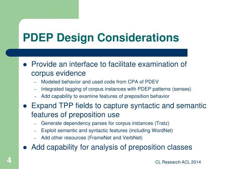 PDEP Design Considerations