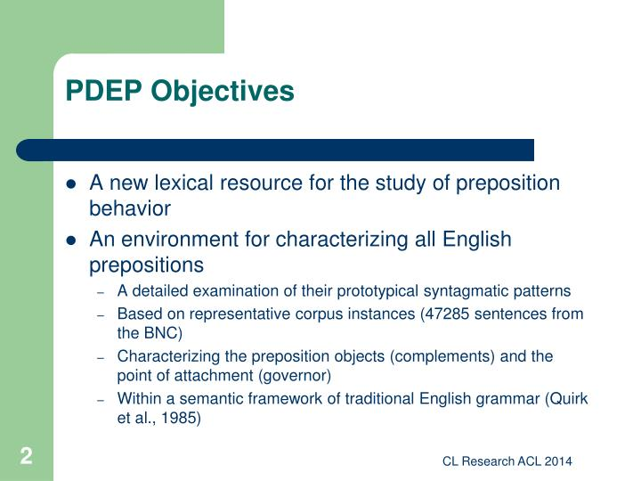 Pdep objectives