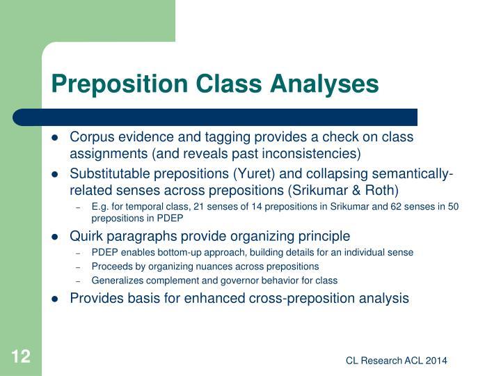 Preposition Class Analyses