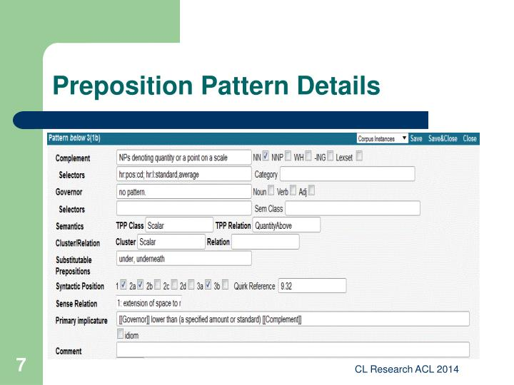 Preposition Pattern Details