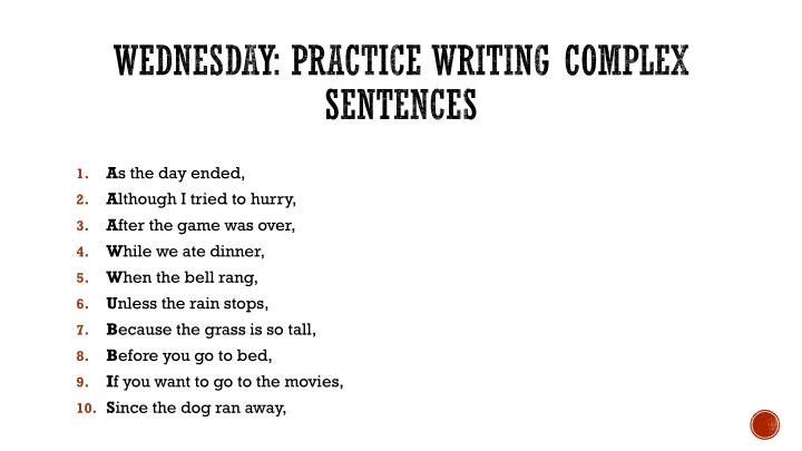 Teach Students to Write Complex Sentences