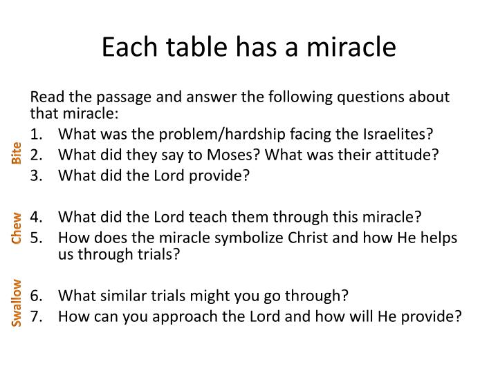 Each table has a miracle