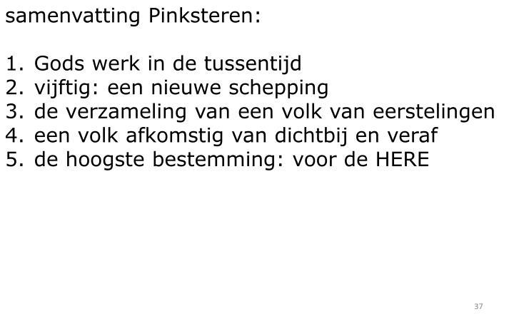 samenvatting Pinksteren:
