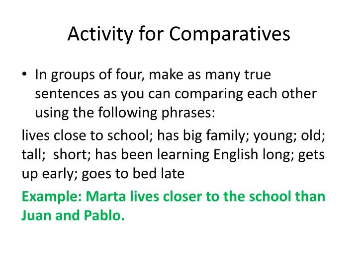 Activity for Comparatives