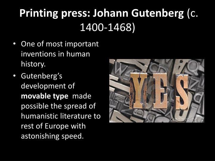 Printing press: Johann Gutenberg