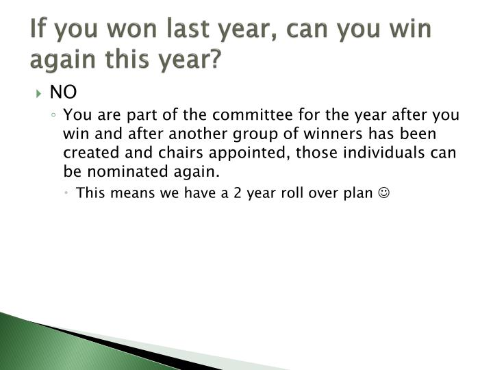 If you won last year, can you win again this year?