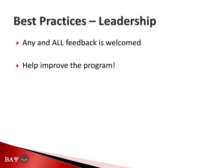 Best Practices – Leadership