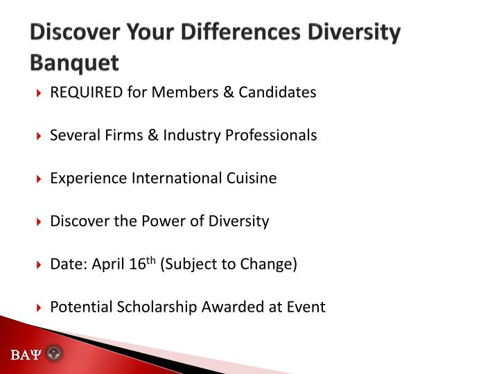 Discover Your Differences Diversity Banquet