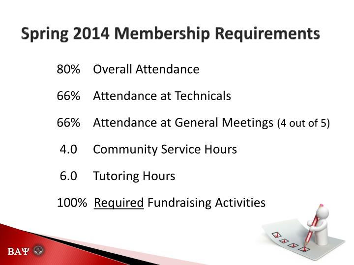 Spring 2014 membership requirements