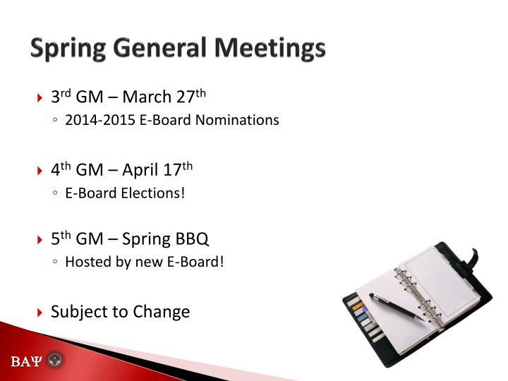 Spring General Meetings