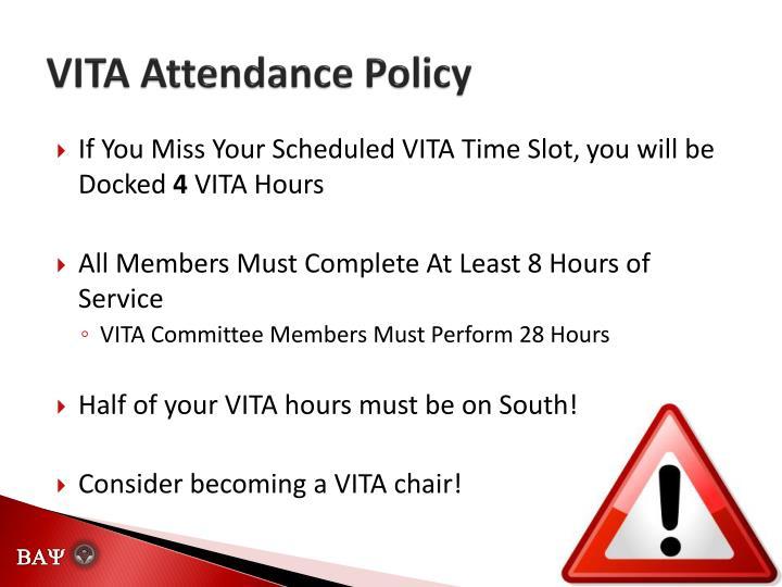 VITA Attendance Policy