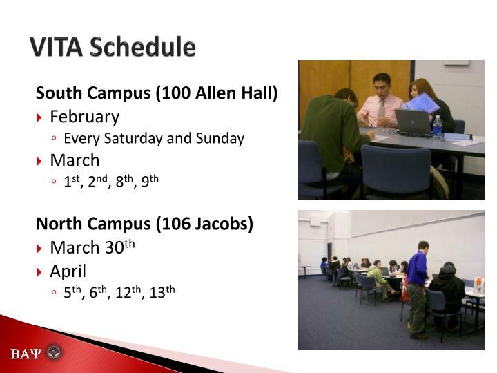 VITA Schedule