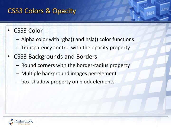 CSS3 Colors & Opacity
