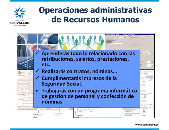 Operaciones administrativas de Recursos Humanos
