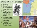 who went on the crusades