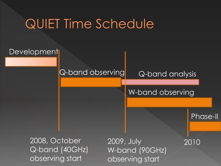QUIET Time Schedule