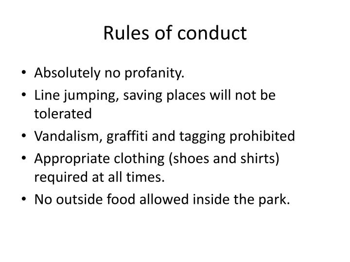 Rules of conduct