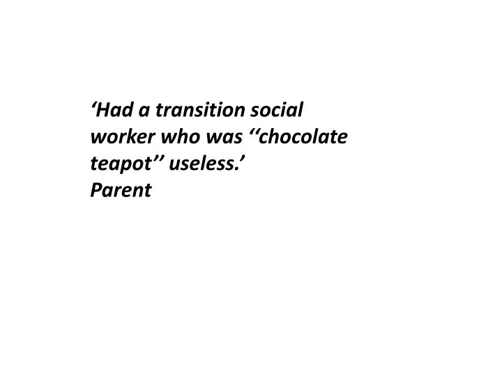'Had a transition social worker who was ''chocolate teapot'' useless.'