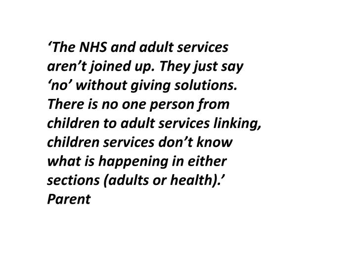 'The NHS and adult services aren't joined up. They just say 'no' without giving solutions. There is no one person from children to adult services linking, children services don't know what is happening in either sections (adults or health).'