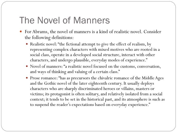 The Novel of Manners